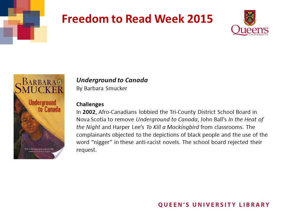 Freedom to Read Week 2015 Underground to Canada By Barbara Smucker