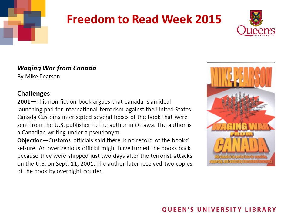 Freedom to Read Week 2015 Waging War from Canada Challenges