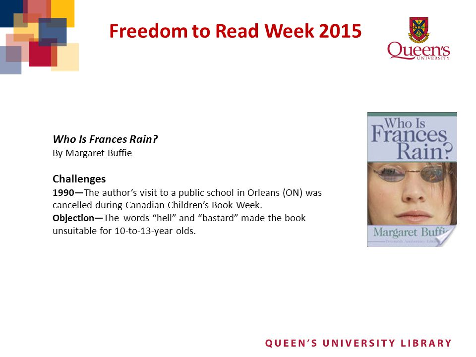 Freedom to Read Week 2015 Who Is Frances Rain Challenges