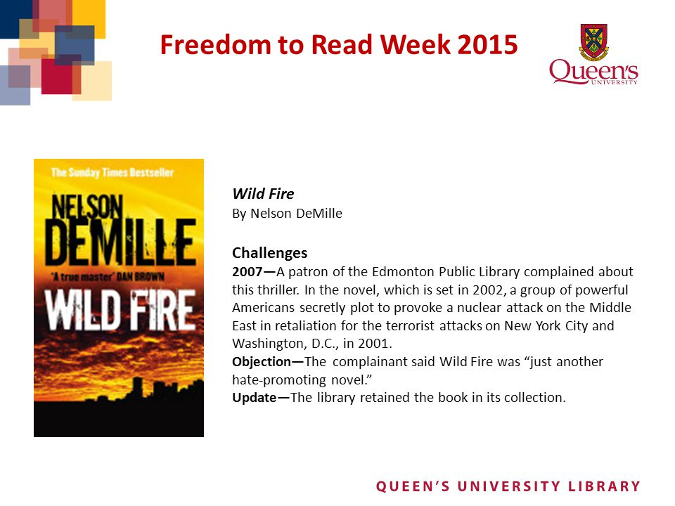 Freedom to Read Week 2015 Wild Fire Challenges By Nelson DeMille