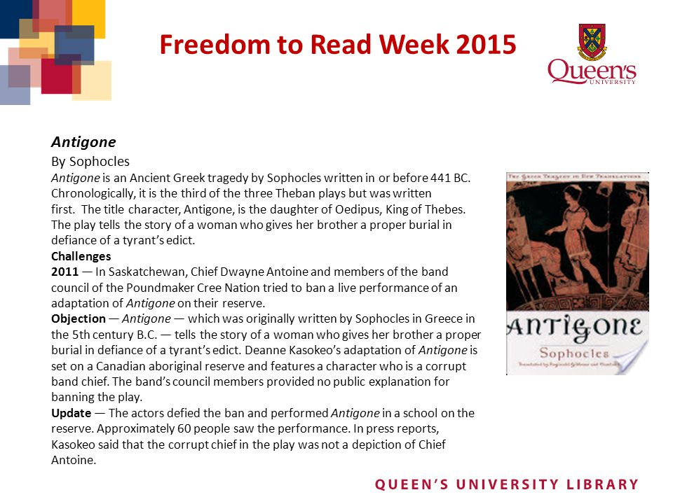 Freedom to Read Week 2015 Antigone By Sophocles