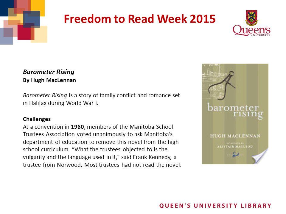 Freedom to Read Week 2015 Barometer Rising By Hugh MacLennan