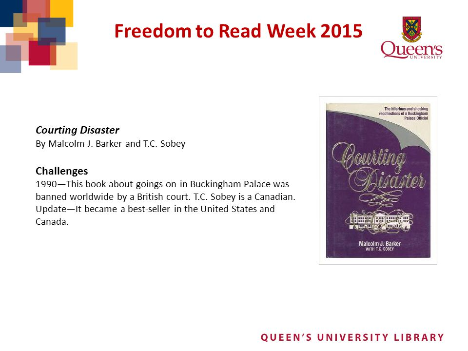 Freedom to Read Week 2015 Courting Disaster Challenges