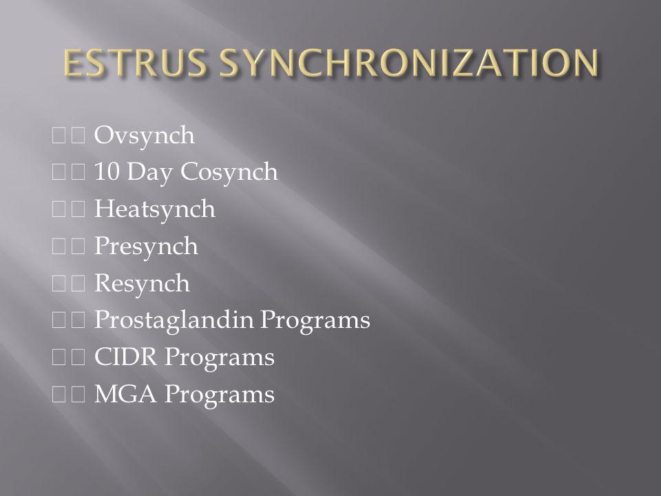 ESTRUS SYNCHRONIZATION
