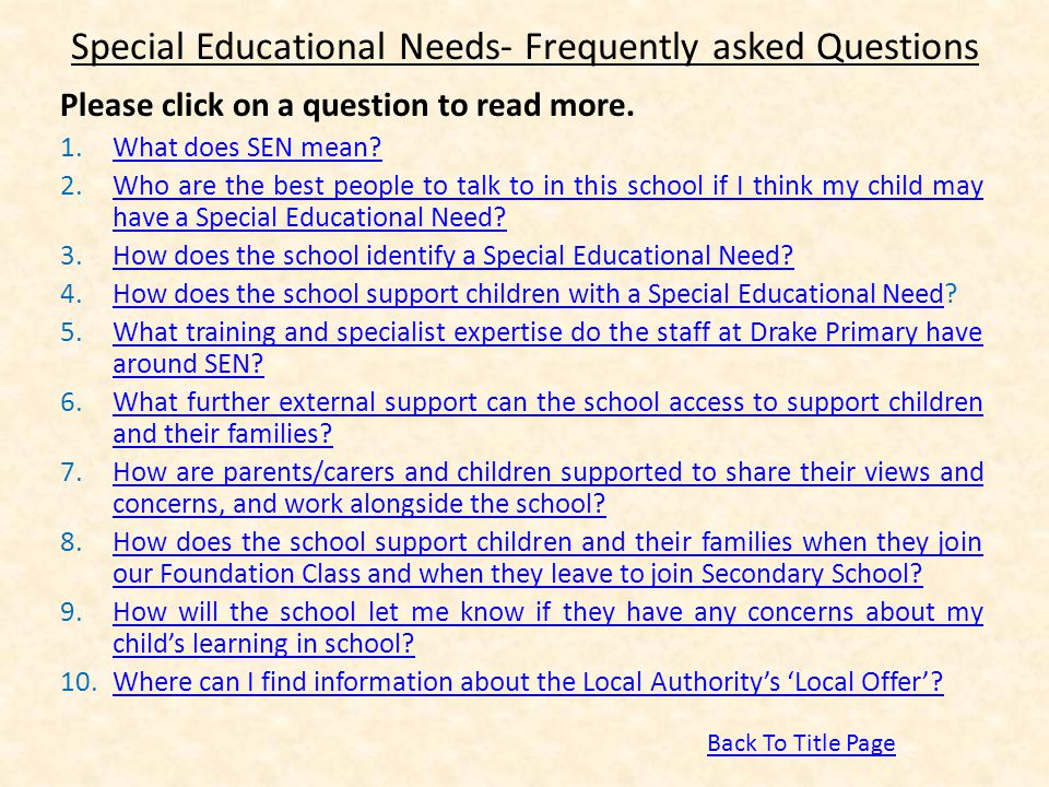 Special Educational Needs- Frequently asked Questions