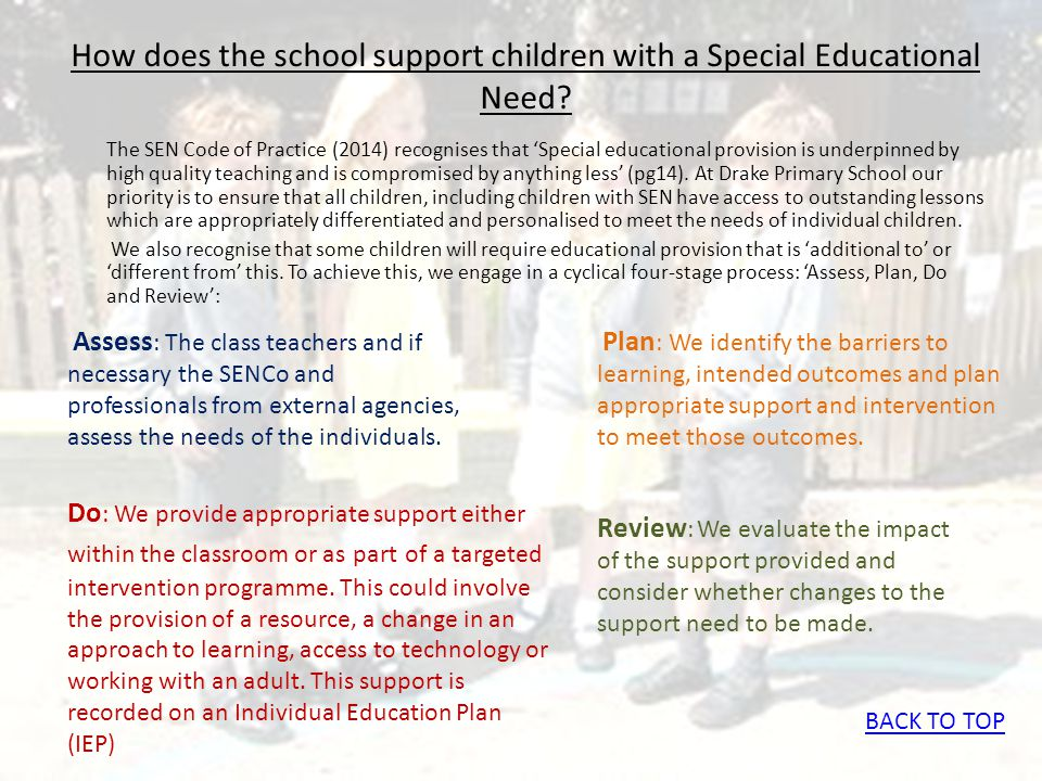 How does the school support children with a Special Educational Need