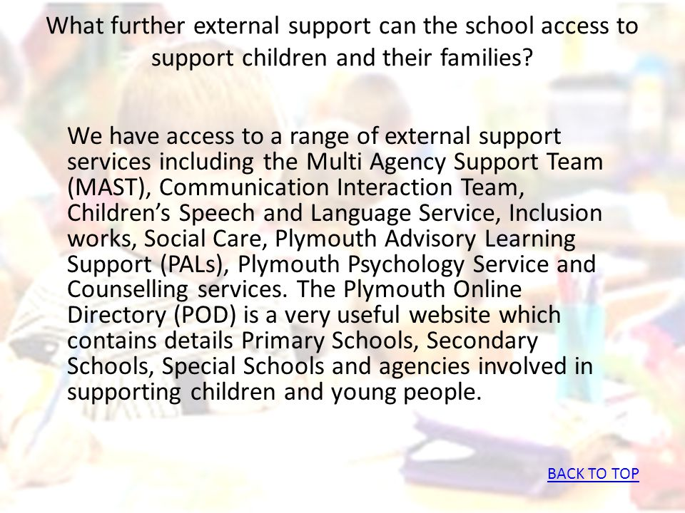 What further external support can the school access to support children and their families