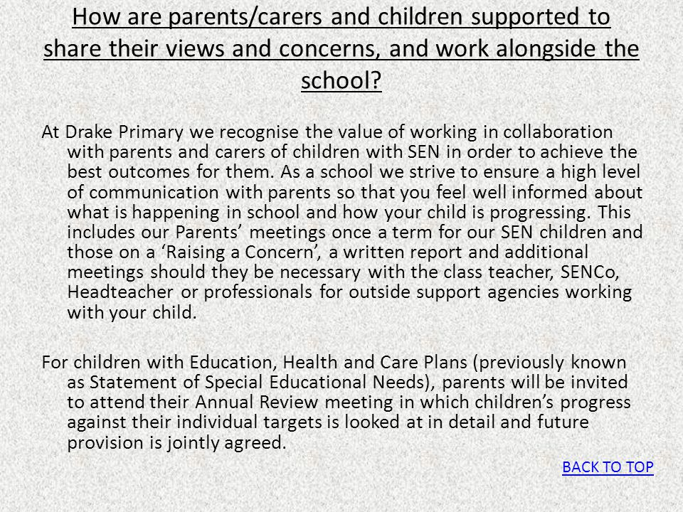 How are parents/carers and children supported to share their views and concerns, and work alongside the school
