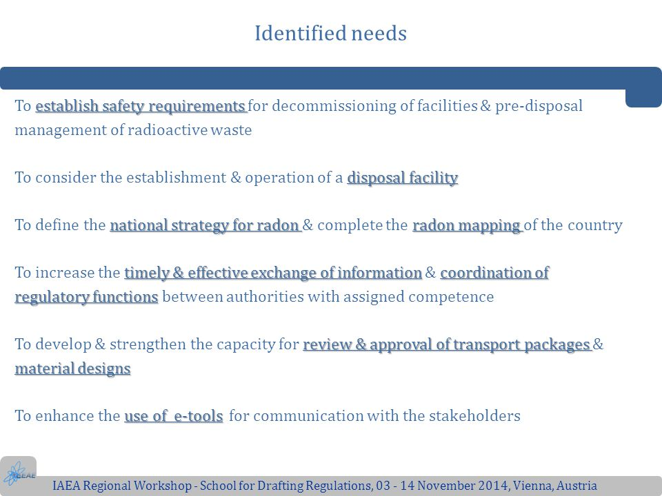 Identified needs To establish safety requirements for decommissioning of facilities & pre-disposal.