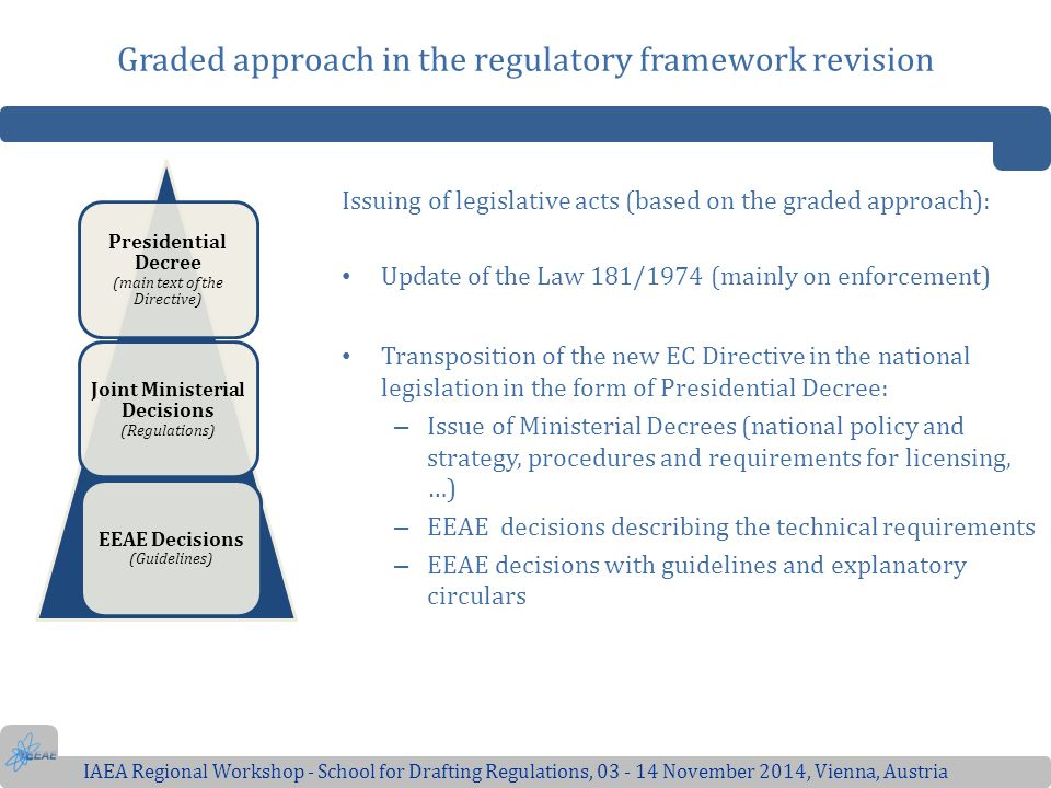 Graded approach in the regulatory framework revision