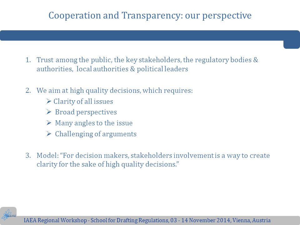 Cooperation and Transparency: our perspective