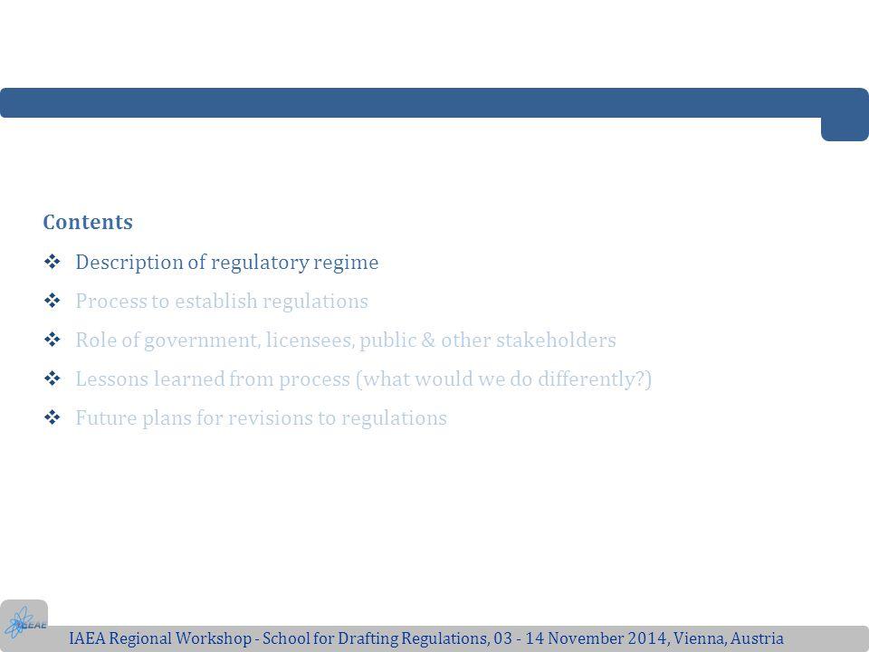 Description of regulatory regime Process to establish regulations