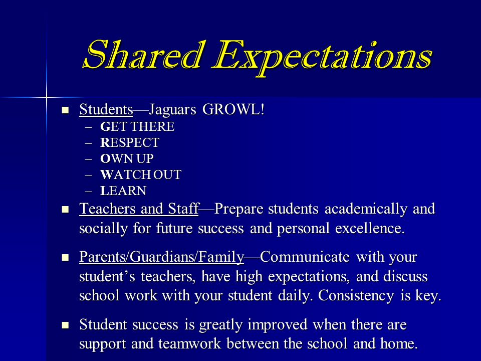 Shared Expectations Students—Jaguars GROWL!