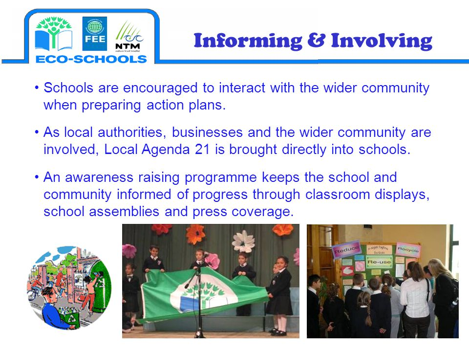 Informing & Involving Schools are encouraged to interact with the wider community when preparing action plans.