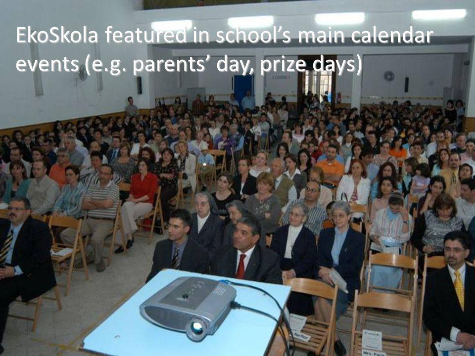 EkoSkola featured in school's main calendar events (e. g