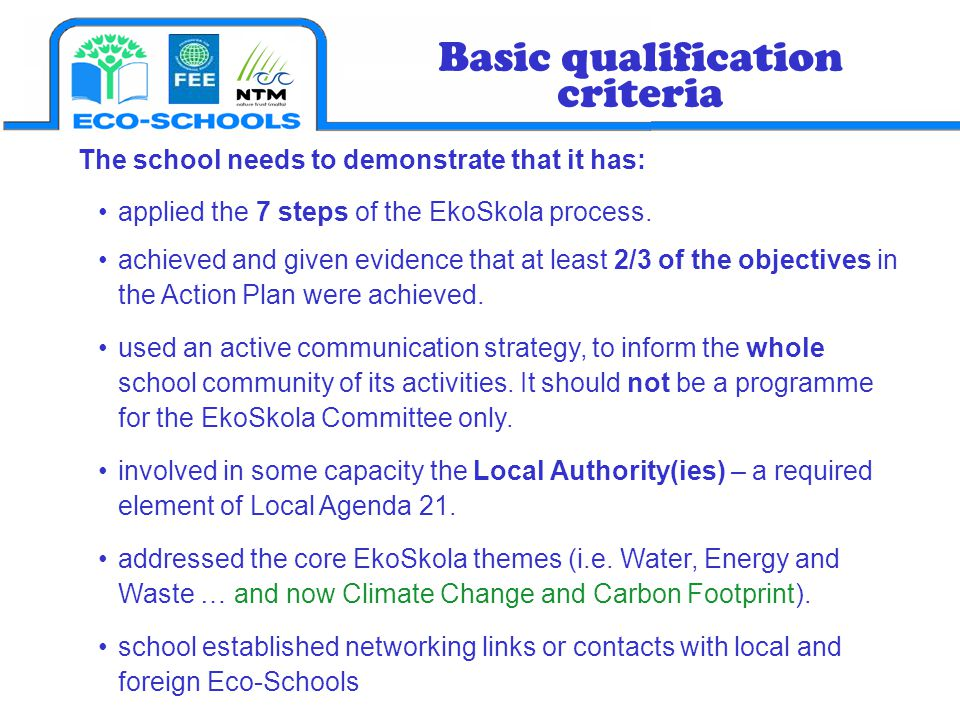 Basic qualification criteria