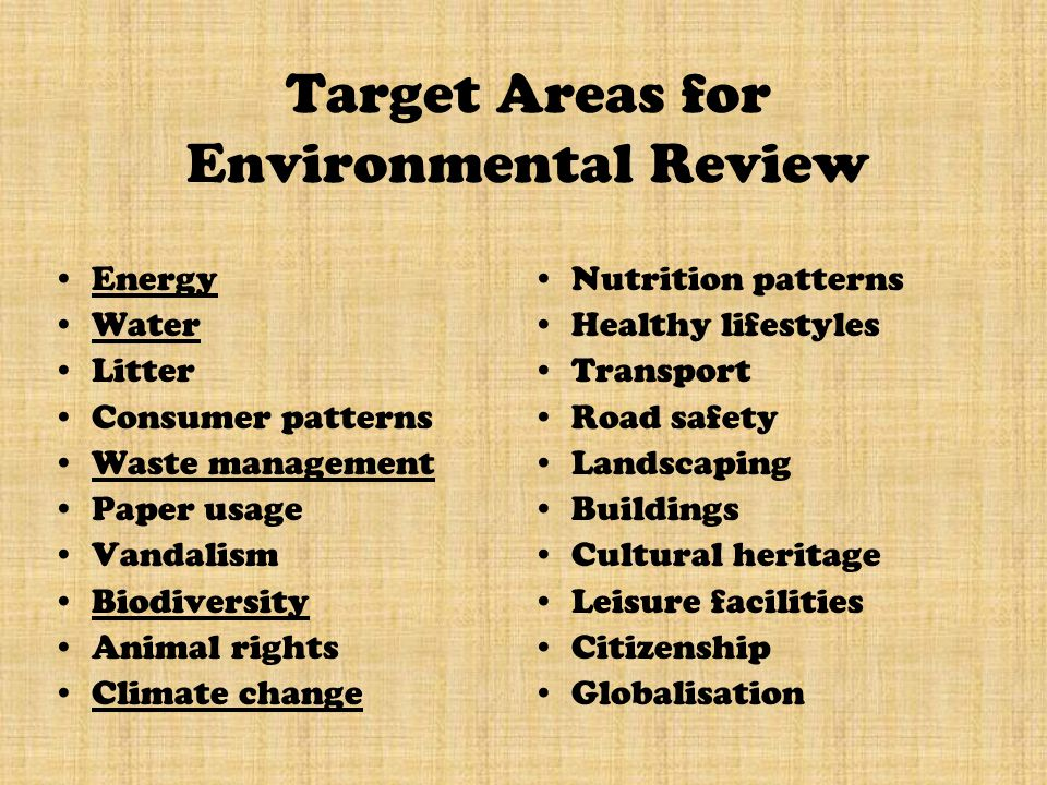 Target Areas for Environmental Review