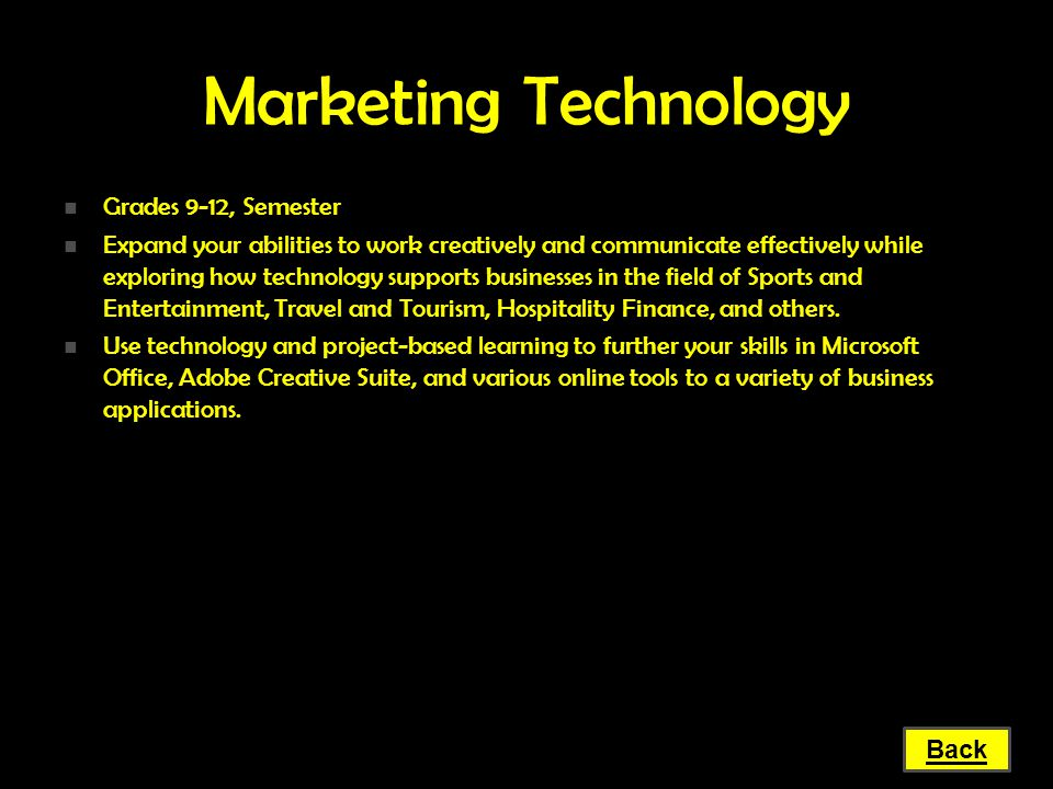 Marketing Technology Grades 9-12, Semester