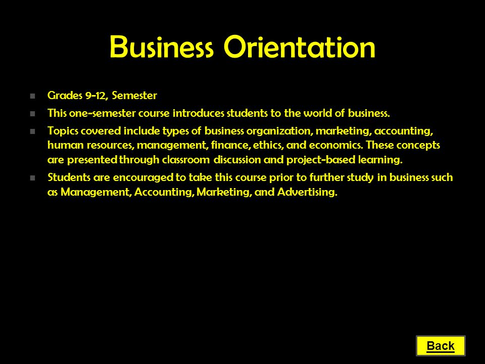 Business Orientation Grades 9-12, Semester
