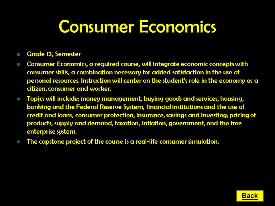 Consumer Economics Grade 12, Semester
