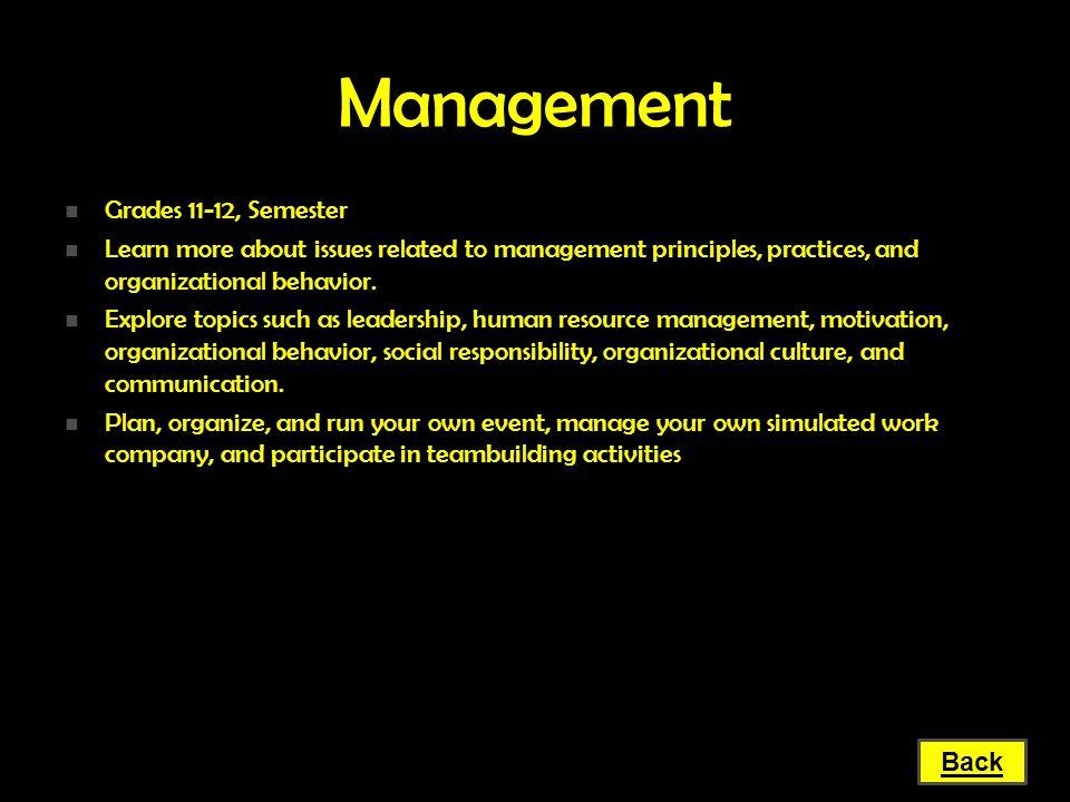 Management Grades 11-12, Semester