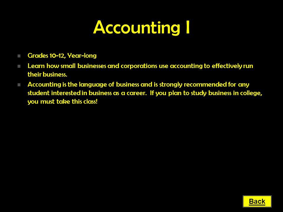 Accounting I Grades 10-12, Year-long
