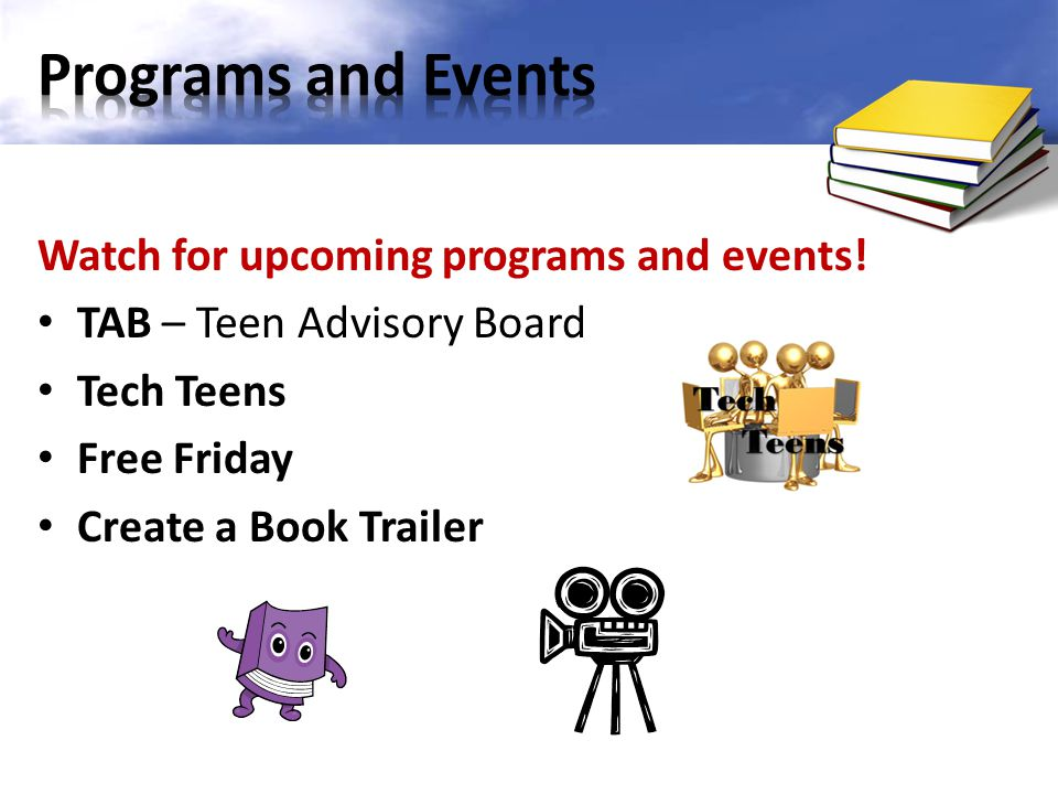 Programs and Events Watch for upcoming programs and events!