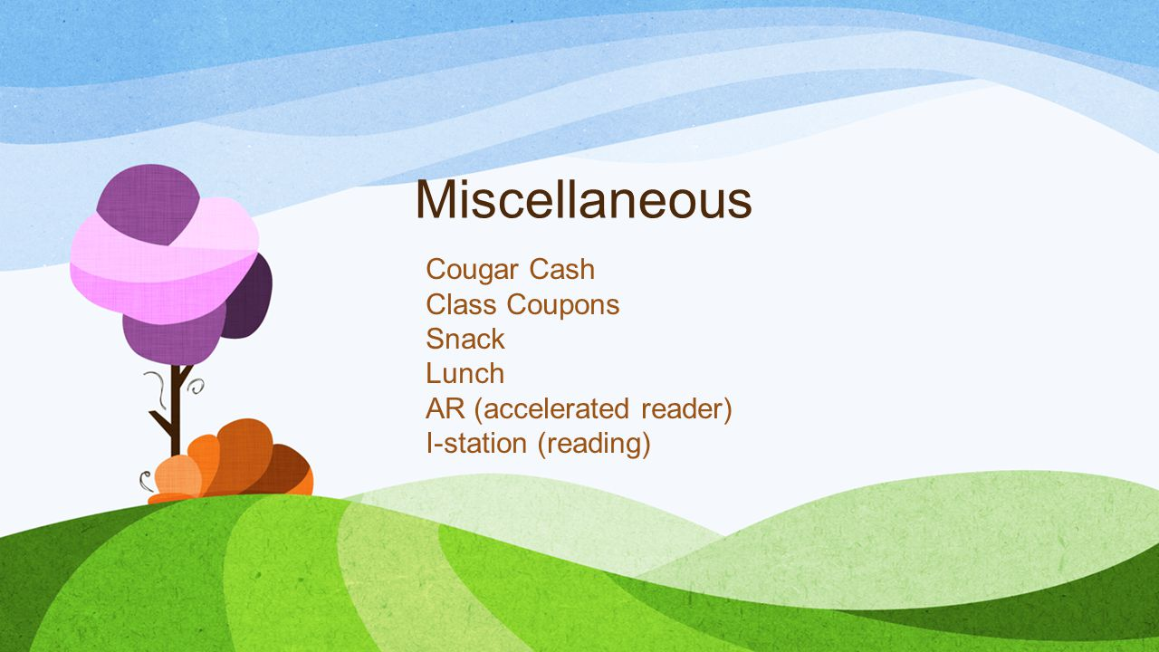 Miscellaneous Cougar Cash Class Coupons Snack Lunch
