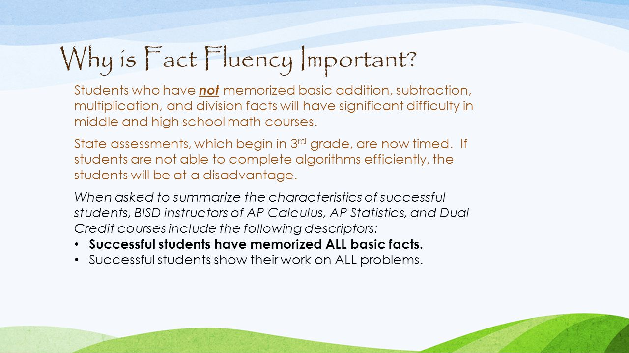 Why is Fact Fluency Important