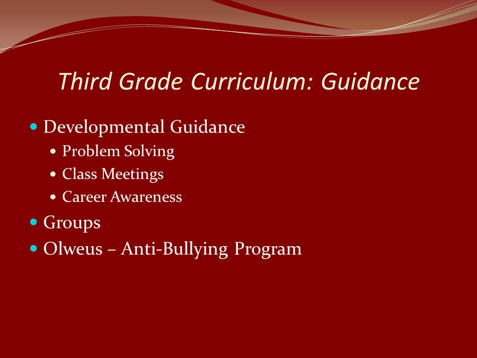 Third Grade Curriculum: Guidance