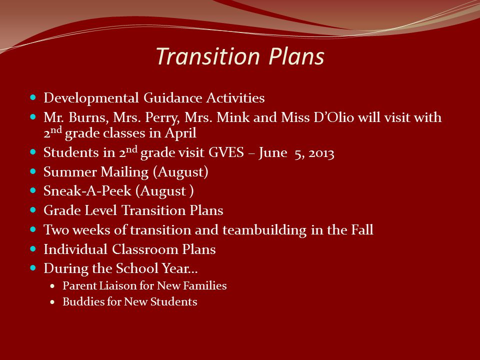 Transition Plans Developmental Guidance Activities