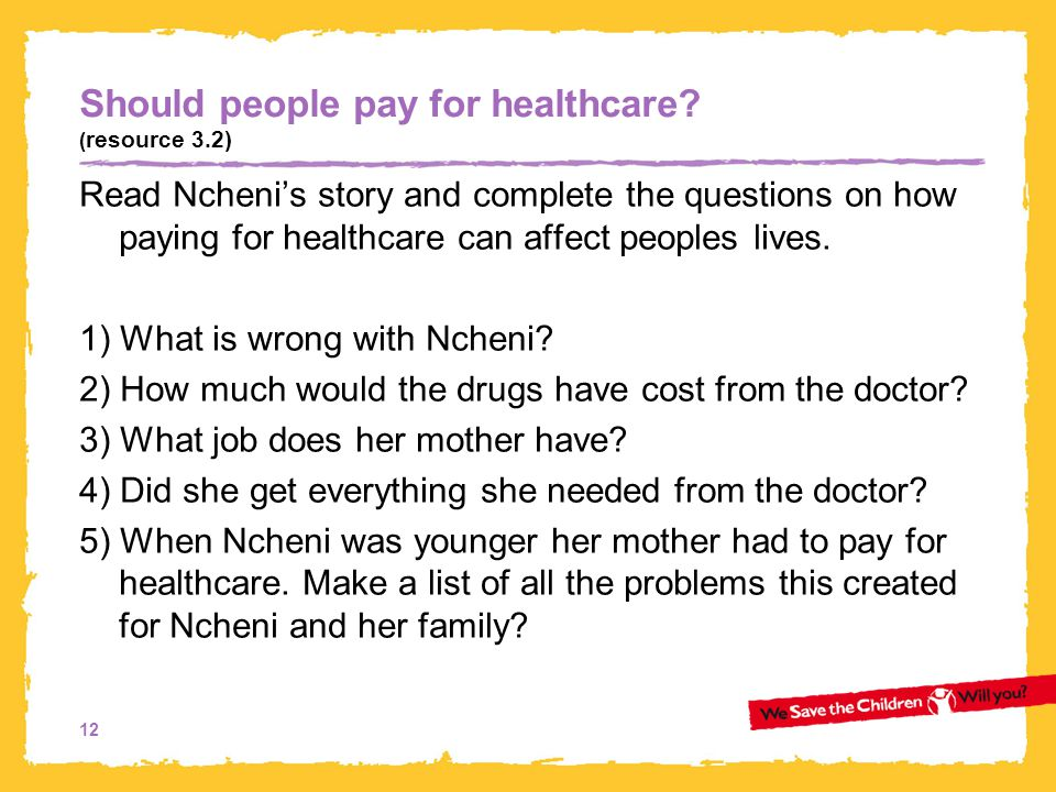 Should people pay for healthcare (resource 3.2)