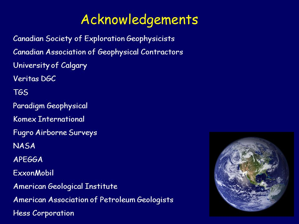 Acknowledgements Canadian Society of Exploration Geophysicists