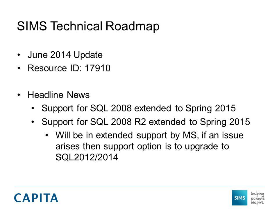 SIMS Technical Roadmap