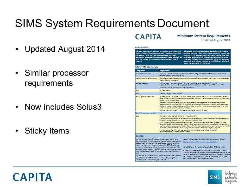 SIMS System Requirements Document