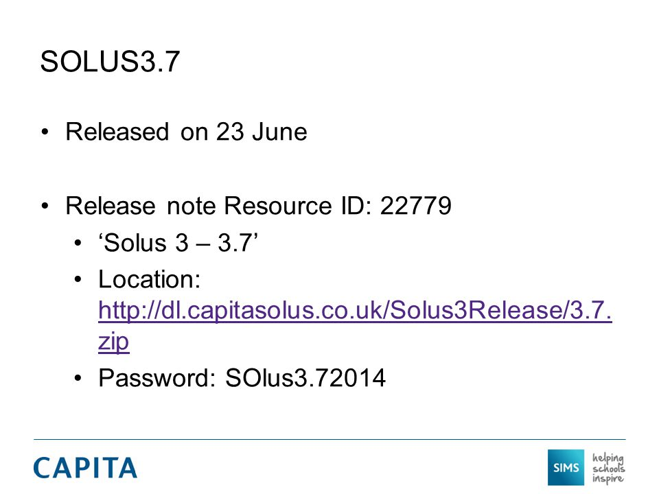 SOLUS3.7 Released on 23 June Release note Resource ID: 22779