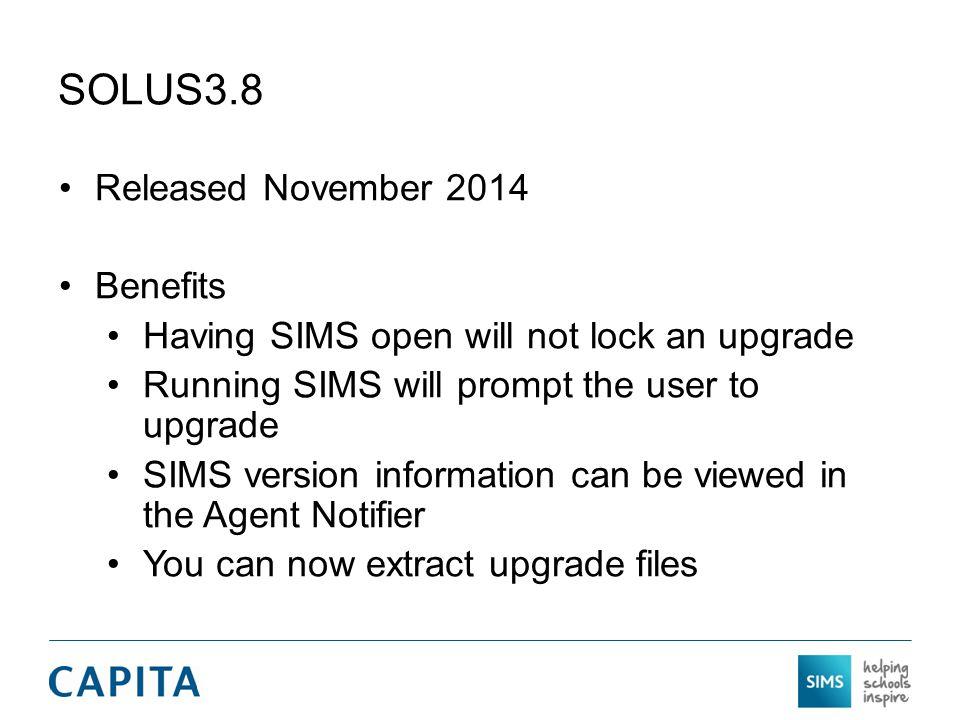 SOLUS3.8 Released November 2014 Benefits