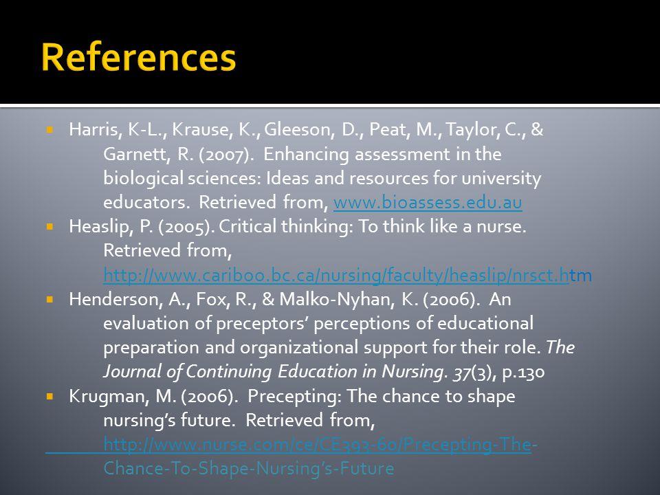 References Harris, K-L., Krause, K., Gleeson, D., Peat, M., Taylor, C., & Garnett, R. (2007). Enhancing assessment in the.