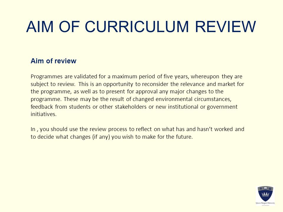 AIM OF CURRICULUM REVIEW