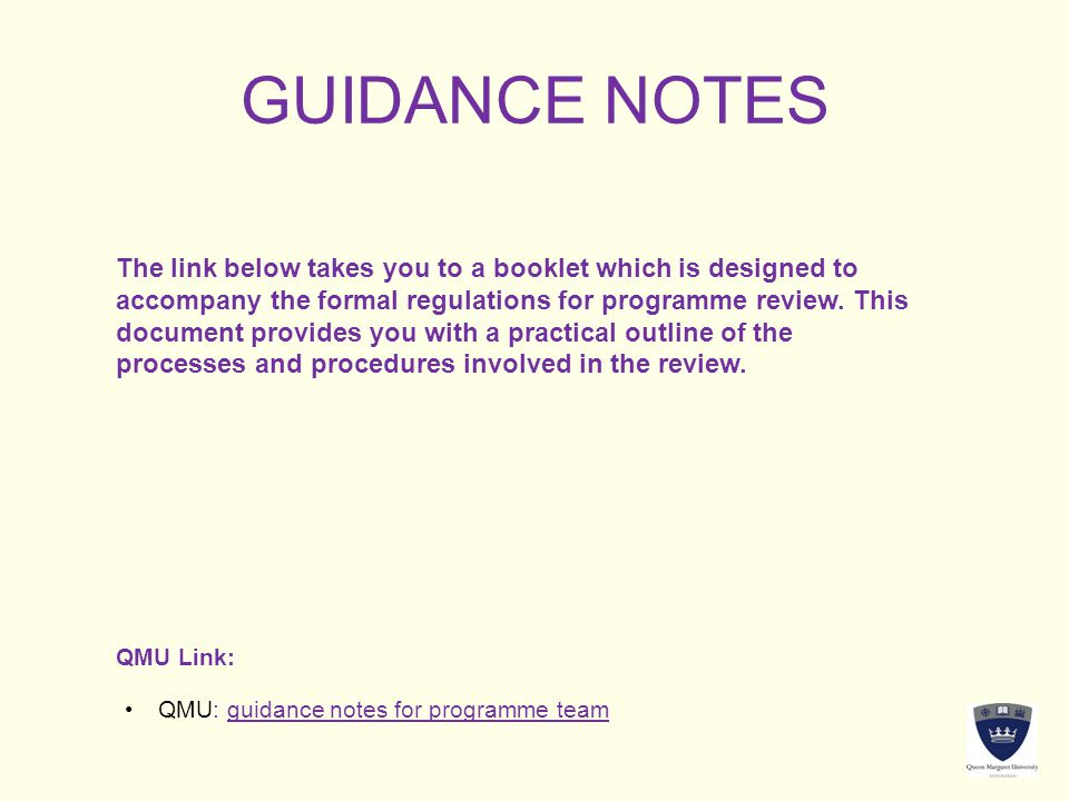 GUIDANCE NOTES