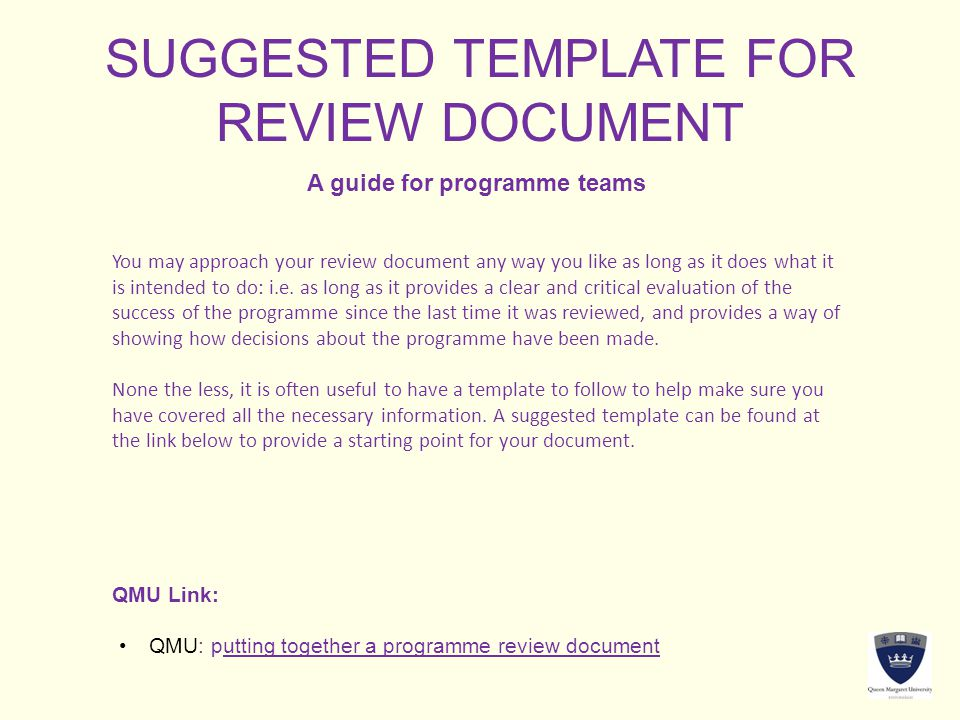 SUGGESTED TEMPLATE FOR REVIEW DOCUMENT