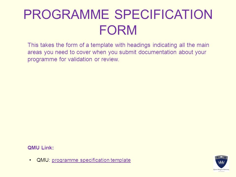 PROGRAMME SPECIFICATION FORM