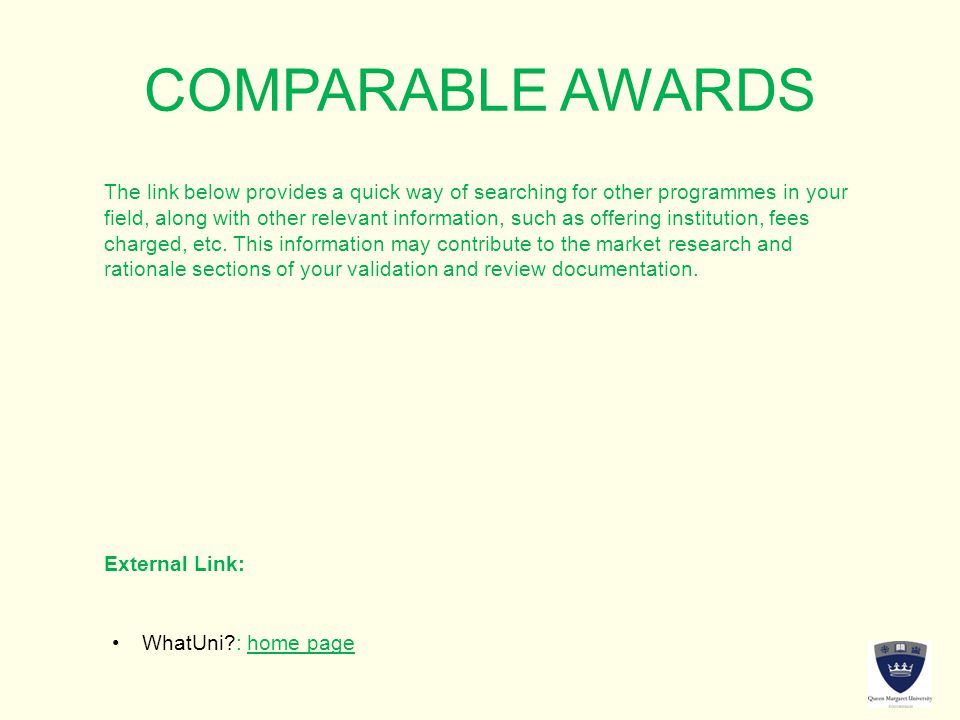 COMPARABLE AWARDS