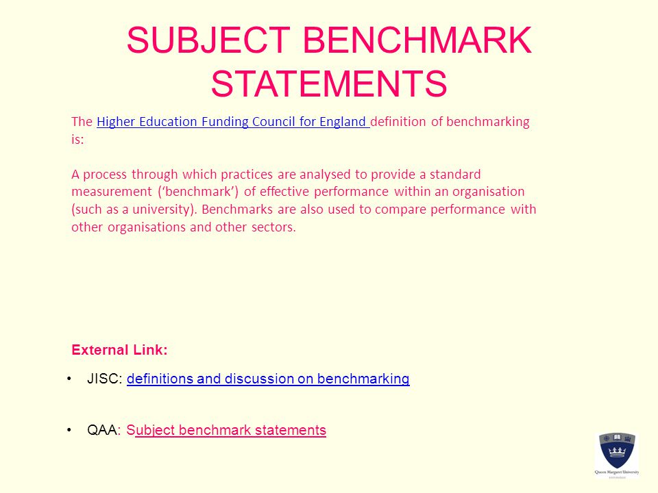 SUBJECT BENCHMARK STATEMENTS