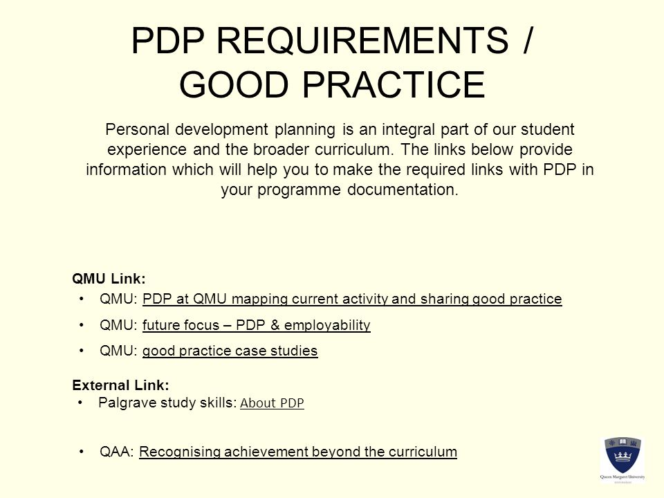 PDP REQUIREMENTS / GOOD PRACTICE