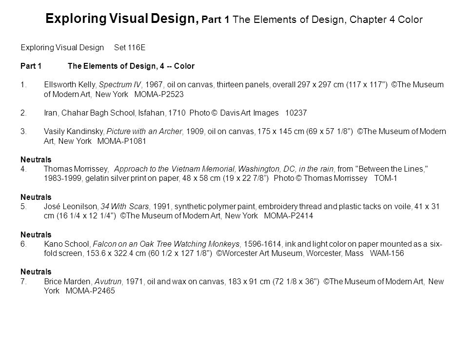 Exploring Visual Design, Part 1 The Elements of Design, Chapter 4 Color
