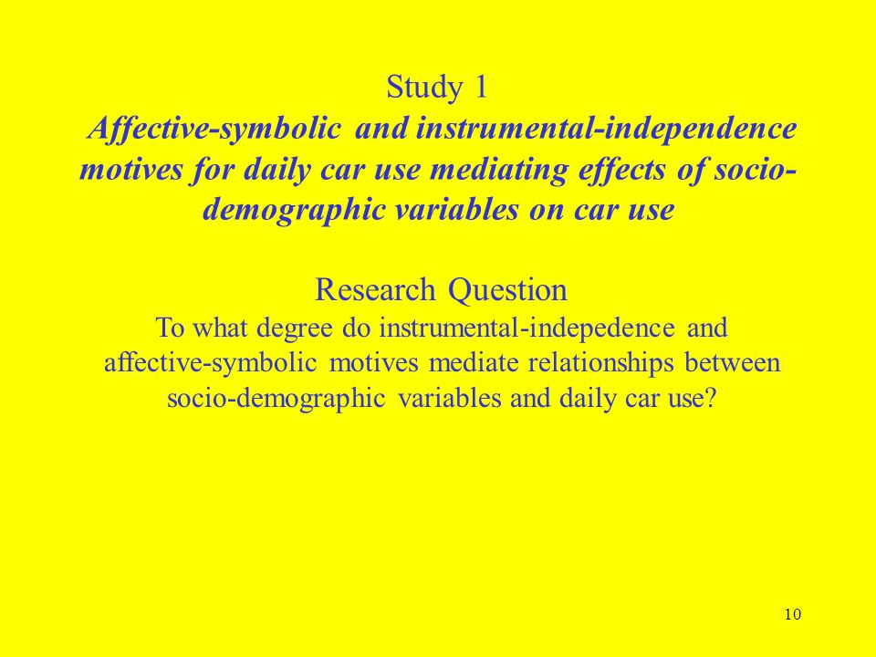 Study 1 Affective-symbolic and instrumental-independence motives for daily car use mediating effects of socio-demographic variables on car use