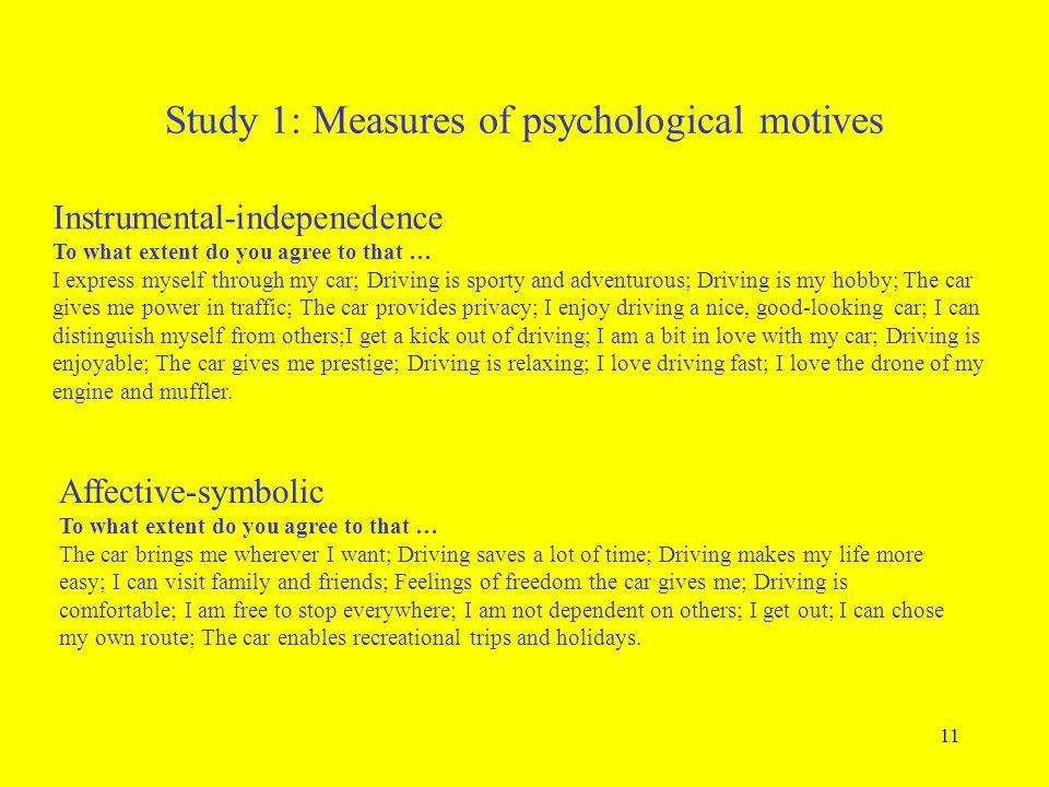 Study 1: Measures of psychological motives