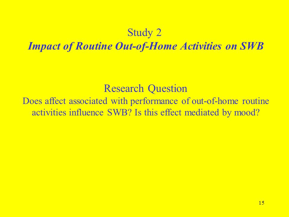 Study 2 Impact of Routine Out-of-Home Activities on SWB