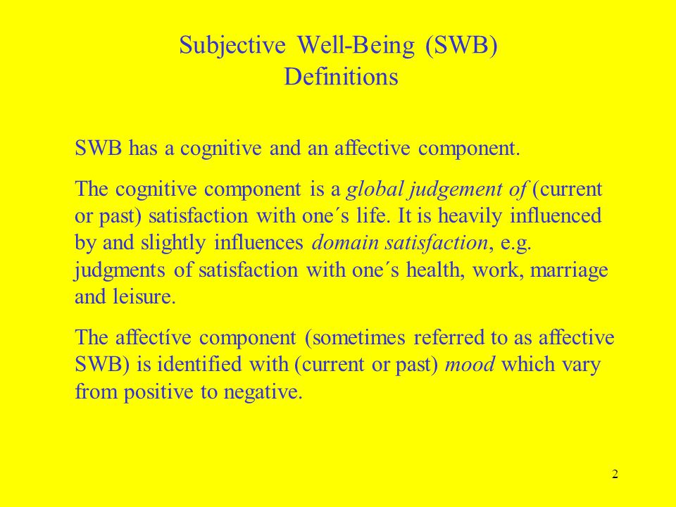 Subjective Well-Being (SWB) Definitions